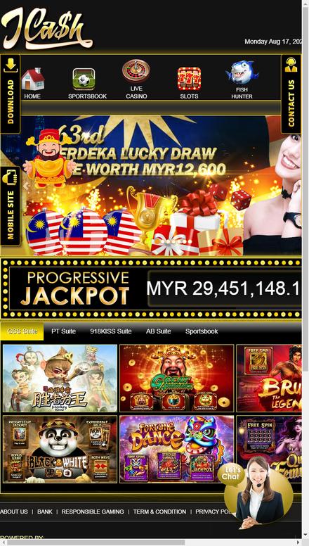 mobile view  JCash - Online Casino Malaysia