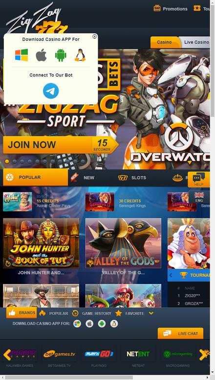 mobile view ZigZag777.com - Online Casino, Slots, Online Lottery